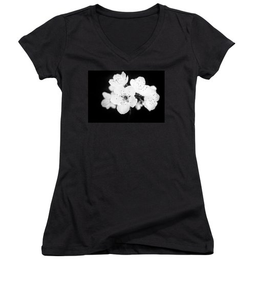 Beautiful Blossoms In Black And White Women's V-Neck T-Shirt