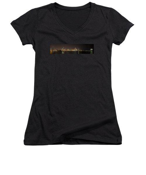 Beautiful Chicago Skyline With Fireworks Women's V-Neck T-Shirt (Junior Cut) by Adam Romanowicz