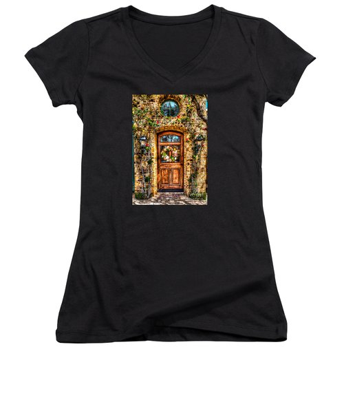 Beautiful Entry Women's V-Neck T-Shirt (Junior Cut) by Jim Carrell
