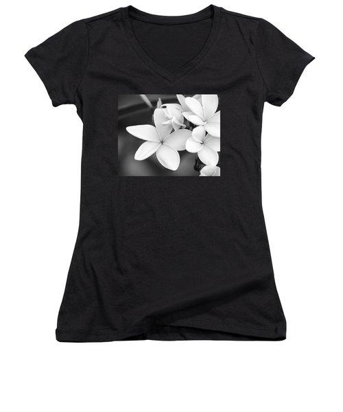 Beautiful Plumeria In Black And White Women's V-Neck