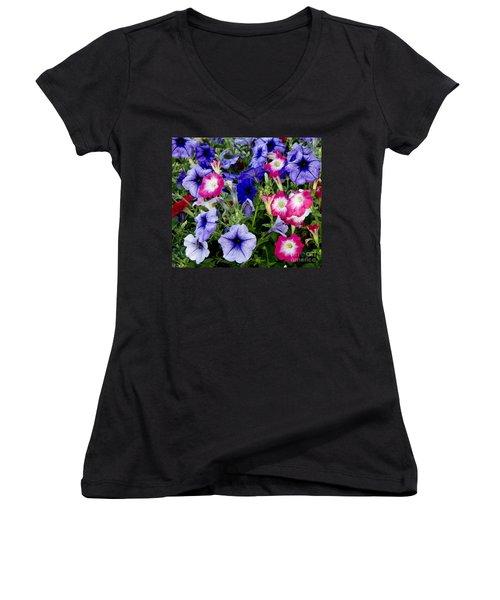 Beautiful Summer Annuals Women's V-Neck T-Shirt (Junior Cut) by Wilma  Birdwell