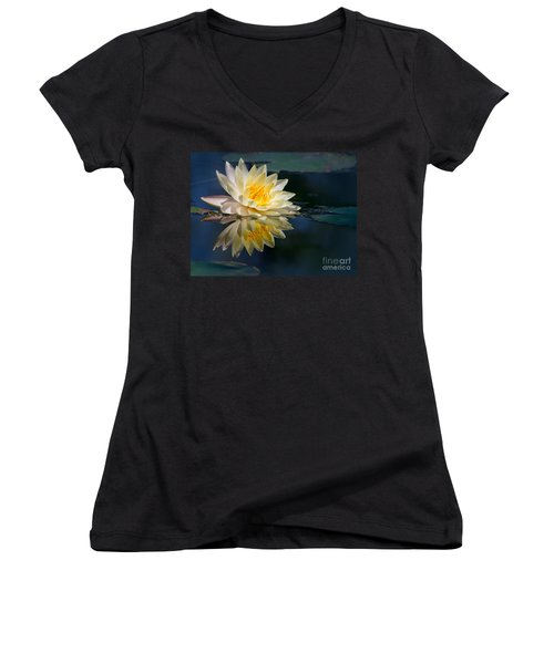 Beautiful Water Lily Reflection Women's V-Neck