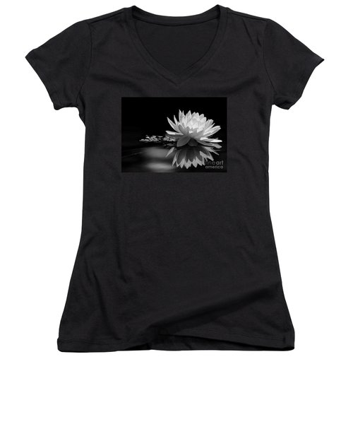 Beautiful Water Lily Reflections Women's V-Neck