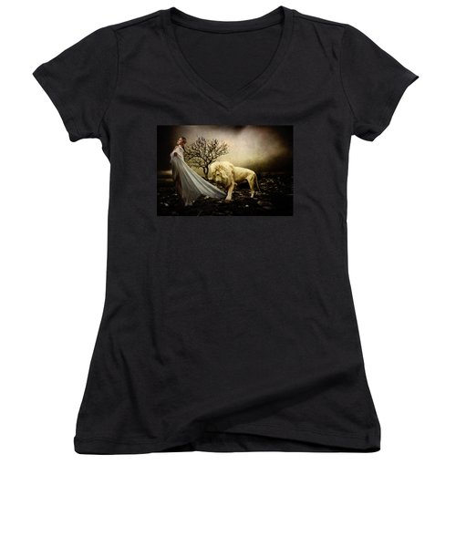 Beauty And The Beast Women's V-Neck (Athletic Fit)