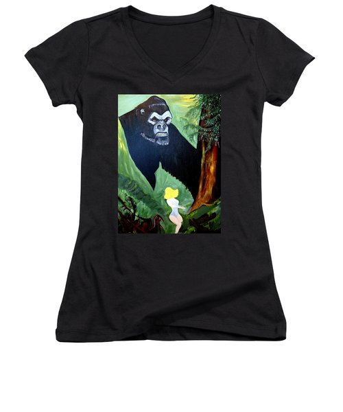 Women's V-Neck T-Shirt (Junior Cut) featuring the painting Beauty And The Beast by Nora Shepley