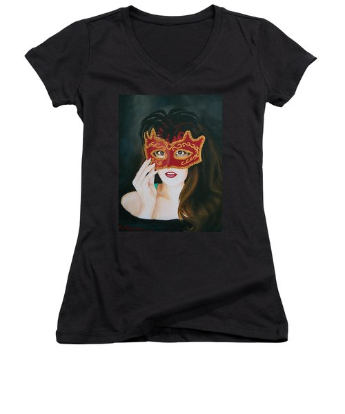 Beauty And The Mask Women's V-Neck T-Shirt (Junior Cut) by Sharon Duguay
