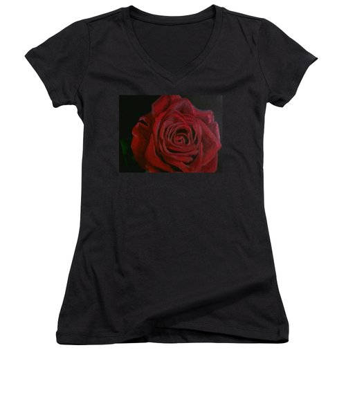 Women's V-Neck T-Shirt featuring the painting Beauty by Thomasina Durkay