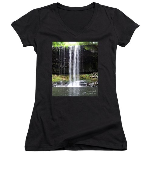 Women's V-Neck T-Shirt (Junior Cut) featuring the photograph Beaver Falls by Chalet Roome-Rigdon