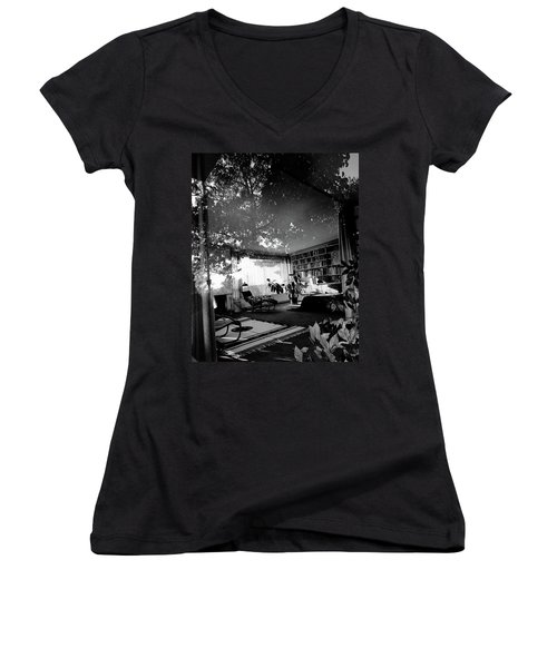 Bedroom Seen Through Glass From The Outside Women's V-Neck