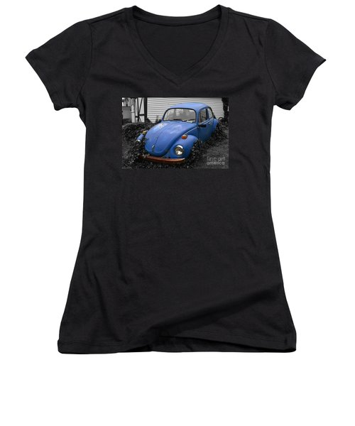 Beetle Garden Women's V-Neck T-Shirt (Junior Cut) by Angela DeFrias
