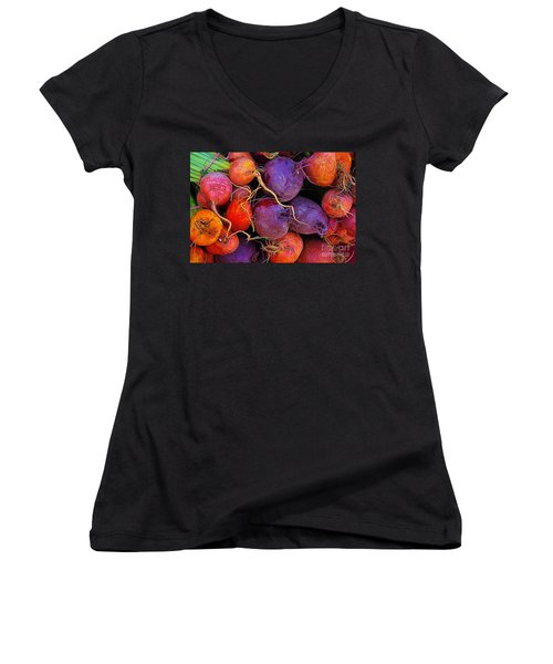 Women's V-Neck T-Shirt (Junior Cut) featuring the photograph Beets Me  by John S