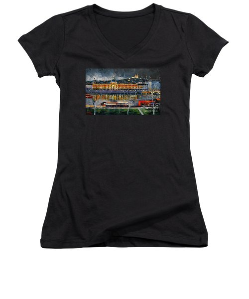 Before The Storm - View On Hotel Dieu Lyon And The Rhone France Women's V-Neck T-Shirt