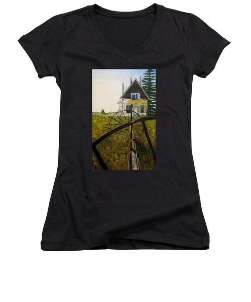 Women's V-Neck T-Shirt (Junior Cut) featuring the painting Behind The Old Church by Marilyn  McNish