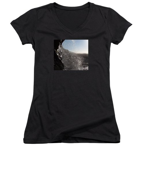 Behind The Waterfall Women's V-Neck T-Shirt (Junior Cut) by Richard Brookes