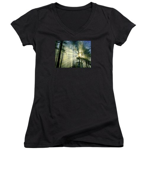 Behold The Light In The Fall Forest Women's V-Neck (Athletic Fit)