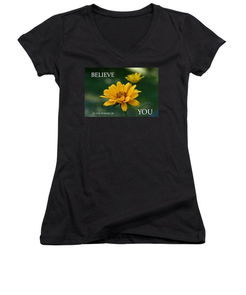 Believe Women's V-Neck T-Shirt (Junior Cut) by Denyse Duhaime