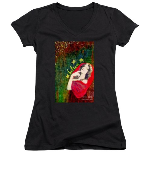 Women's V-Neck T-Shirt (Junior Cut) featuring the mixed media Believe by Desiree Paquette