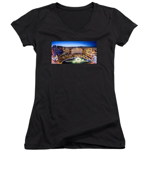 Bellagio Rountains From Eiffel Tower At Dusk Women's V-Neck T-Shirt (Junior Cut) by Aloha Art