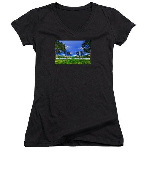 Women's V-Neck T-Shirt (Junior Cut) featuring the photograph Belonging by Mark Blauhoefer
