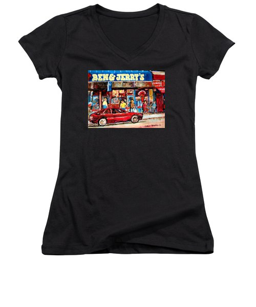Ben And Jerrys Ice Cream Parlor Women's V-Neck T-Shirt