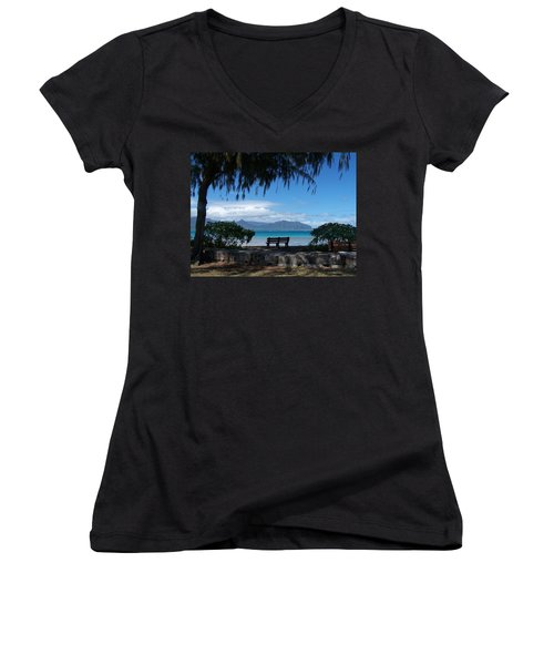 Bench Of Kaneohe Bay Hawaii Women's V-Neck T-Shirt (Junior Cut) by Jewels Blake Hamrick