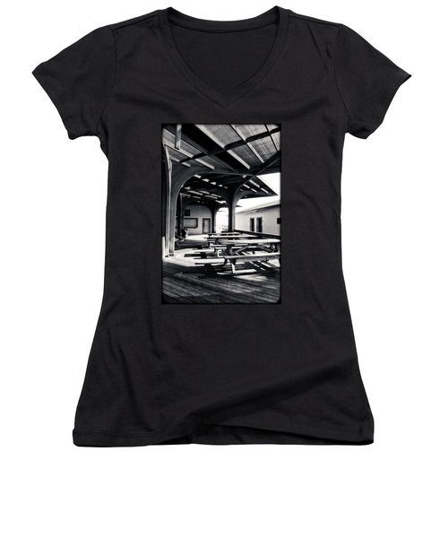 Benches At The Beach Women's V-Neck T-Shirt