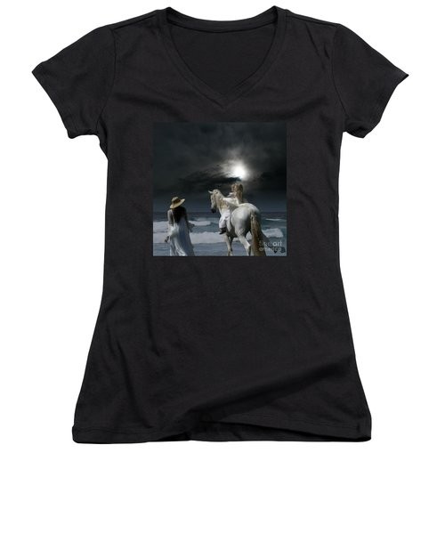 Women's V-Neck T-Shirt (Junior Cut) featuring the photograph Beneath The Illusion In Colour by Sharon Mau