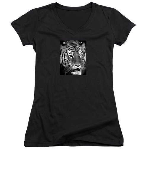 Bengal Tiger In Black And White Women's V-Neck T-Shirt (Junior Cut) by Venetia Featherstone-Witty