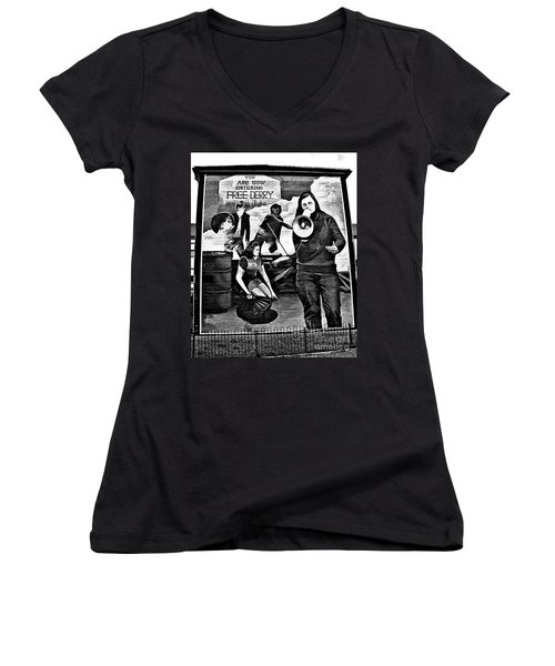 Bernadette Devlin Mural 2 Women's V-Neck (Athletic Fit)