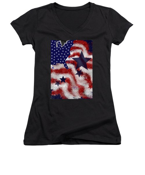 Women's V-Neck T-Shirt (Junior Cut) featuring the painting Betsy's Dream by Carol Jacobs