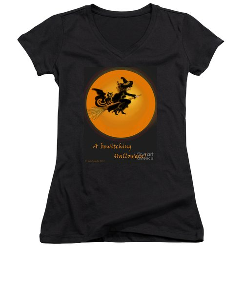 Women's V-Neck T-Shirt (Junior Cut) featuring the painting Betwitched by Carol Jacobs
