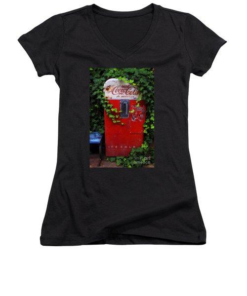 Austin Texas - Coca Cola Vending Machine - Luther Fine Art Women's V-Neck T-Shirt (Junior Cut) by Luther Fine Art