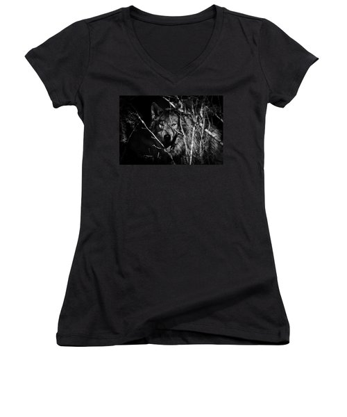 Beware The Woods Women's V-Neck T-Shirt (Junior Cut) by Wes and Dotty Weber