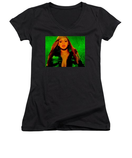 Beyonce II Women's V-Neck T-Shirt (Junior Cut) by Brian Reaves