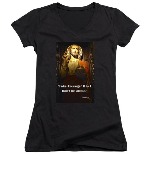 Bible Quote  Mark 6  50 Women's V-Neck (Athletic Fit)