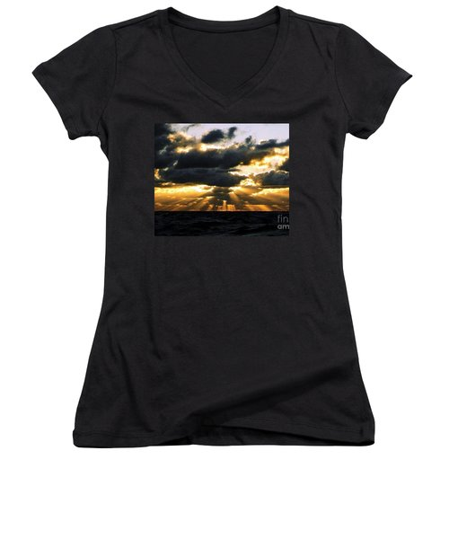 Women's V-Neck T-Shirt (Junior Cut) featuring the photograph Crespuscular Biblical Rays At Dusk In The Gulf Of Mexico by Michael Hoard