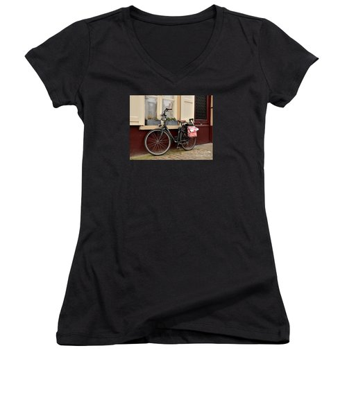 Bicycle With Baby Seat At Doorway Bruges Belgium Women's V-Neck T-Shirt
