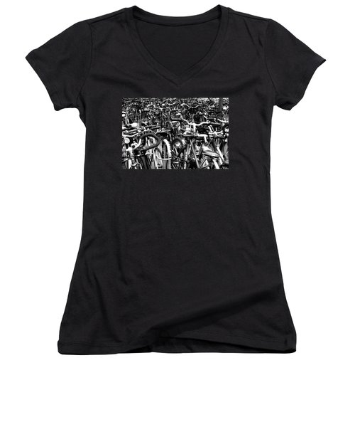 Women's V-Neck T-Shirt (Junior Cut) featuring the photograph Sea Of Bicycles- Karlsruhe Germany by Joey Agbayani