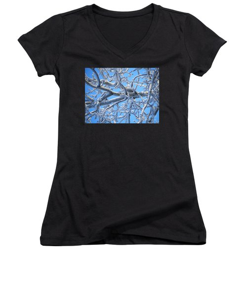 Bifurcations In White And Blue Women's V-Neck T-Shirt (Junior Cut) by Brian Boyle