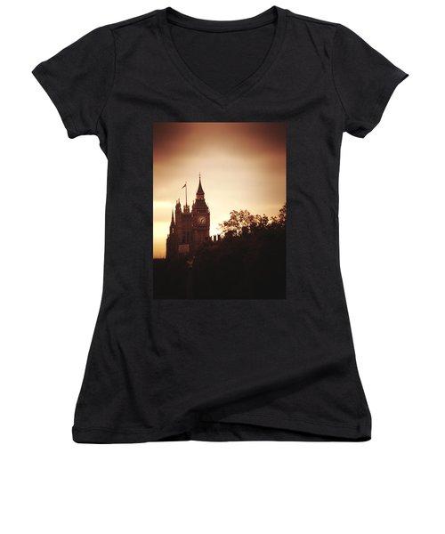 Big Ben In Sepia Women's V-Neck T-Shirt