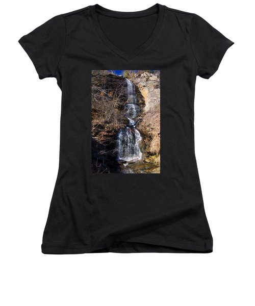 Big Bradley Falls 2 Women's V-Neck T-Shirt (Junior Cut) by Chris Flees