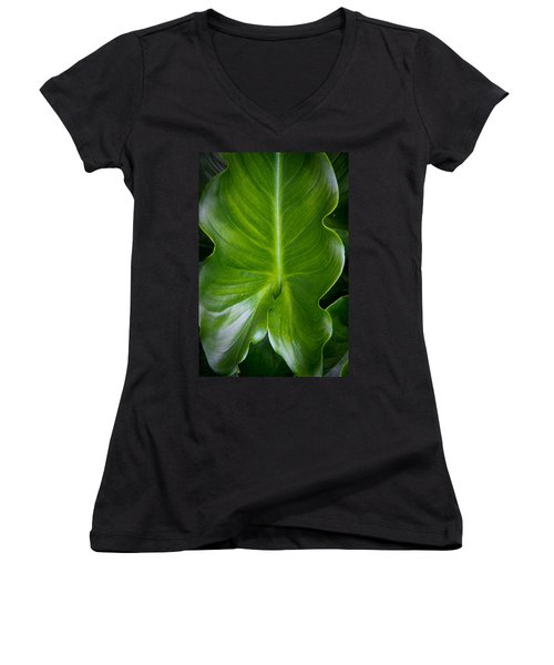 Aaron Berg Women's V-Neck T-Shirt (Junior Cut) featuring the photograph Big Green by Aaron Berg