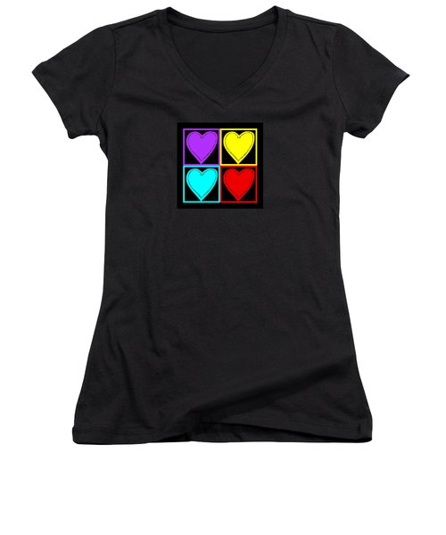Big Hearts I Women's V-Neck T-Shirt (Junior Cut) by Marianne Campolongo