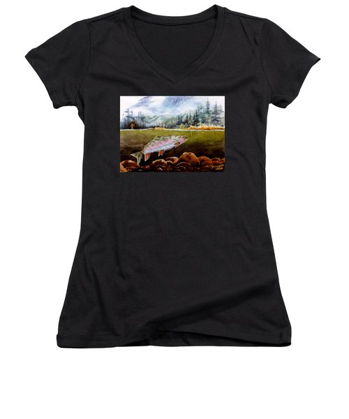 Women's V-Neck T-Shirt (Junior Cut) featuring the painting Big Thompson Trout by Craig T Burgwardt
