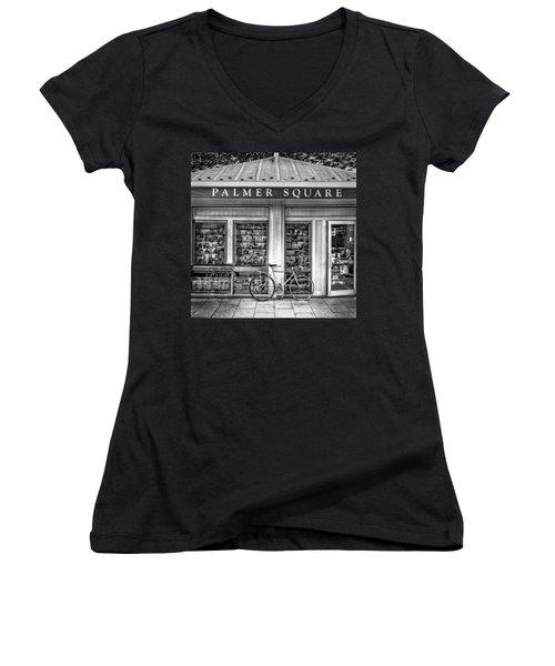 Bike At Palmer Square Book Store In Princeton Women's V-Neck T-Shirt (Junior Cut) by Ben and Raisa Gertsberg