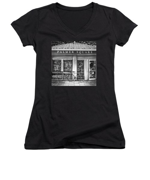 Bike At Palmer Square Book Store In Princeton Women's V-Neck (Athletic Fit)
