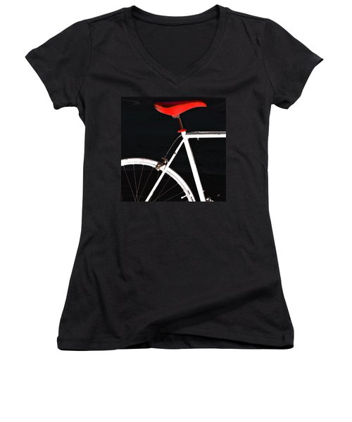 Bike In Black White And Red No 1 Women's V-Neck T-Shirt (Junior Cut) by Ben and Raisa Gertsberg