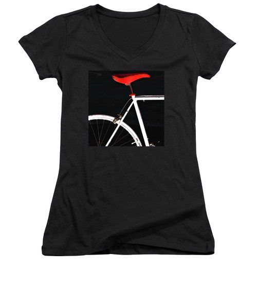 Bike In Black White And Red No 1 Women's V-Neck (Athletic Fit)