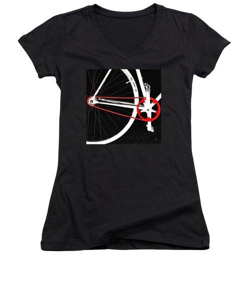 Bike In Black White And Red No 2 Women's V-Neck T-Shirt (Junior Cut) by Ben and Raisa Gertsberg
