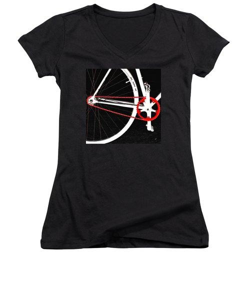 Bike In Black White And Red No 2 Women's V-Neck